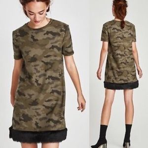 •ZARA•'TRF Fuzzy Camo Fur Hem Dress